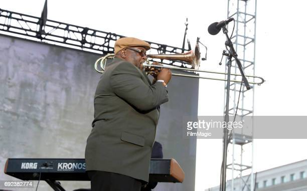 Musician Ronell Johnson of the Preservation Hall Jazz Band performs onstage at the Piazza Del Cluster Stage during Colossal Clusterfest at Civic...