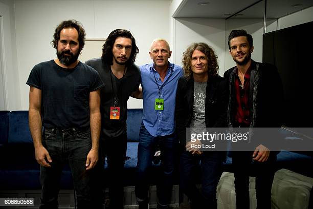 Musician Ronnie Vannucci actor Adam Driver actor Daniel Craig musician Dave Kuening and musician Brandon Flowers of The Killers pose backstage at...