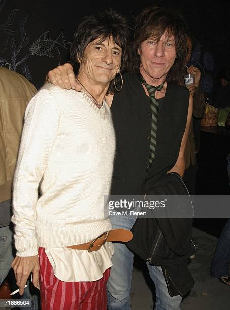 Musician Ronnie Wood and Jeff Beck attend the Rolling Stones after show party at Wood's home on August 20 in Kingston England