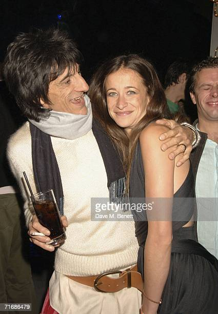 Musician Ronnie Wood and Leah Wood attend the Rolling Stones after show party at Wood's home on August 20 in Kingston England