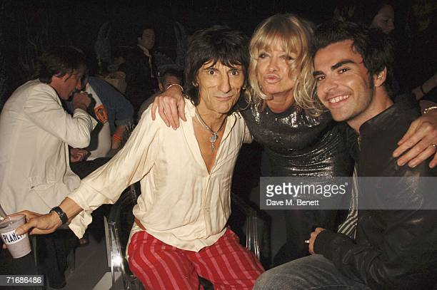 Musician Ronnie Wood Jo Howard and musician Kelly Jones of Stereophonics attend the Rolling Stones after show party at Wood's Home on August 20 in...