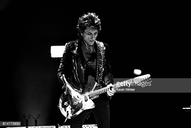 Musician Ronnie Wood of The Rolling Stones performs during Desert Trip at the Empire Polo Field on October 14, 2016 in Indio, California.