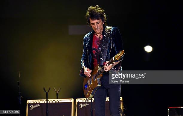 Musician Ronnie Wood performs during Desert Trip at the Empire Polo Field on October 14 2016 in Indio California