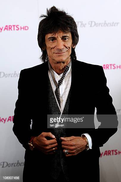Musician Ronnie Wood poses in the press room at the South Bank Sky Arts Awards at The Dorchester on January 25 2011 in London England