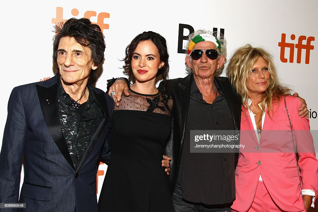 Musician Ronnie Wood, Sally Humphreys, musician Keith Richards, and Patti Hansen attend the 'The Rolling Stones Ole Ole Ole!: A Trip Across Latin America' premiere held at Roy Thomson Hall during the Toronto International Film Festival on September 16, 2016 in Toronto, Canada.