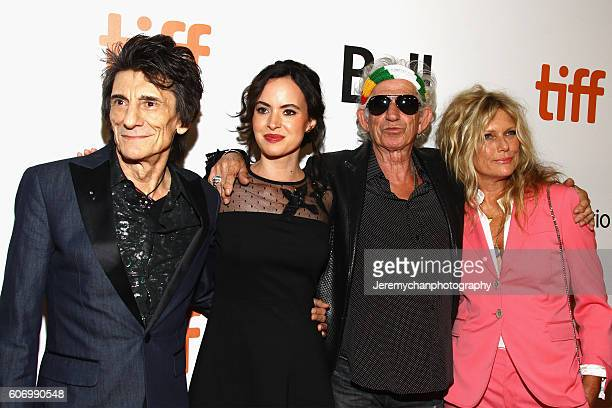 Musician Ronnie Wood Sally Humphreys musician Keith Richards and Patti Hansen attend the The Rolling Stones Ole Ole Ole A Trip Across Latin America...