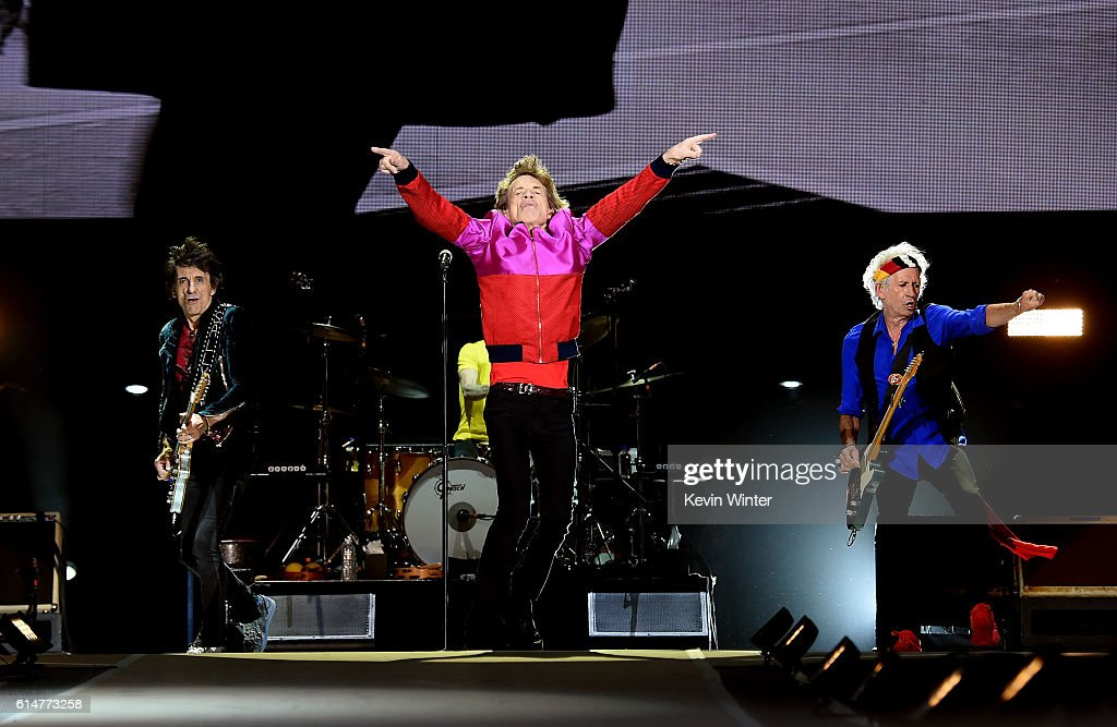 Musician Ronnie Wood, singer Mick Jagger and musician Keith Richards of The Rolling Stones perform during Desert Trip at the Empire Polo Field on October 14, 2016 in Indio, California.