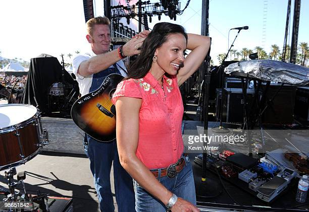 Musician Rory Lee Feek and Joey Martin Feek of Joey + Rory walk off stage during day 1 of Stagecoach: California's Country Music Festival 2010 held...