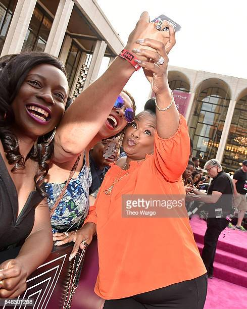 Musician Roxanne Shante takes a selfie with a fan during the VH1 Hip Hop Honors: All Hail The Queens at David Geffen Hall on July 11, 2016 in New...