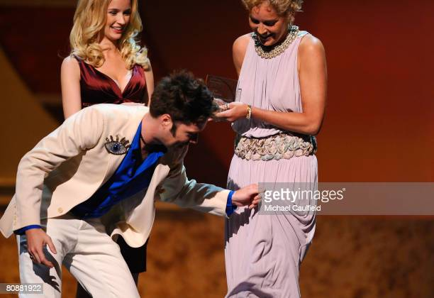 Musician Rufus Wainwright and Actress Sharon Stone at the 19th Annual GLAAD Media Awards on April 25, 2008 at the Kodak Theatre in Hollywood,...