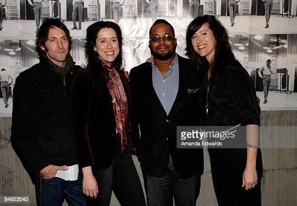 Musician Russell Pollard Chandra Watson Erin Davis and Leigh Watson attend The Genius of Miles Davis exhibition opening reception at Zune LA on...