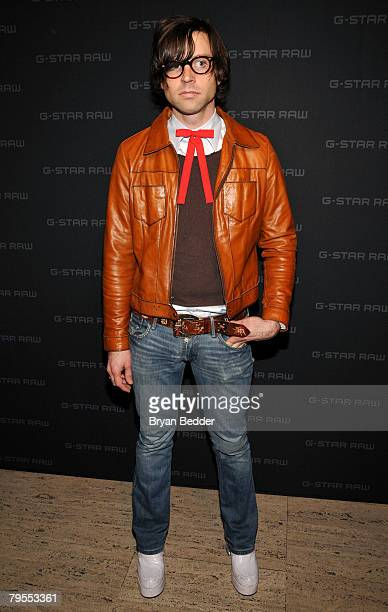 Musician Ryan Adams poses backstage at the G Star Fall 2008 fashion show during MercedesBenz Fashion Week Fall 2008 at Gotham Hall on February 5 2008...