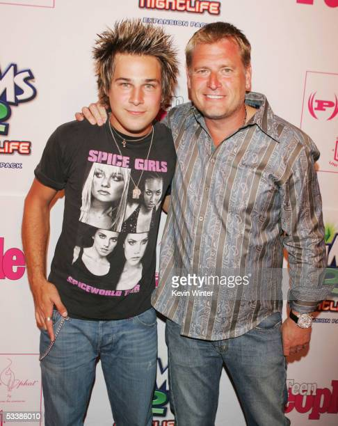 """Musician Ryan Cabrera and manager Joe Simpson arrive at Teen People's 2nd Annual """"Young Hollywood"""" party at Cabana Club on August 13, 2005 in Los..."""
