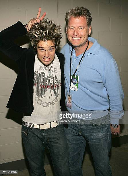 Musician Ryan Cabrera and manager Joe Simpson backstage at the Pepsi Smash Concert Series for Superbowl XXXIX, February 3, 2005 at the Jacksonville...