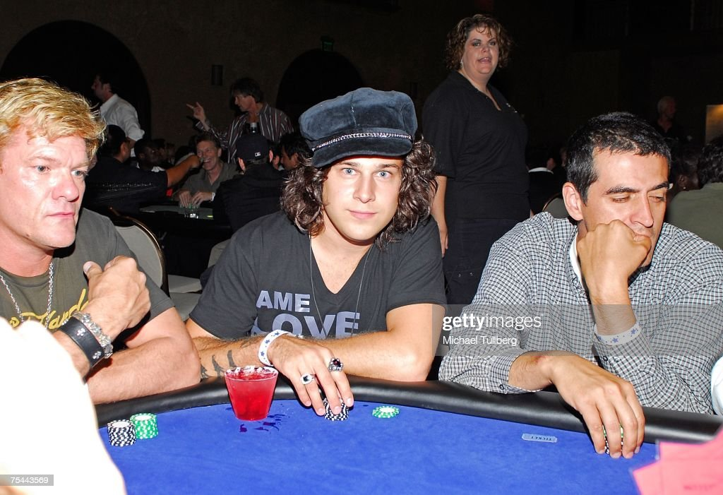Musician Ryan Cabrera waits for his cards at The Clear View Treatment Center's Charity Texas Hold'Em celebrity poker tournament, held at the Roosevelt Hotel on July 16, 2007 in Los Angeles, California.