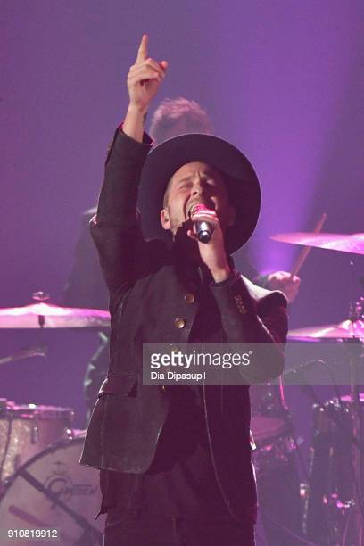 Musician Ryan Tedder of OneRepublic performs onstage during MusiCares Person of the Year honoring Fleetwood Mac at Radio City Music Hall on January...