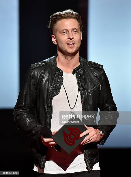 Musician Ryan Tedder speaks onstage during the 2015 iHeartRadio Music Awards which broadcasted live on NBC from The Shrine Auditorium on March 29...