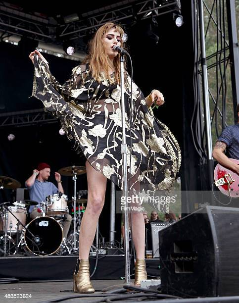 Musician Ryn Weaver performs at the Panhandle Stage during day 3 of the 2015 Outside Lands Music And Arts Festival at Golden Gate Park on August 9...
