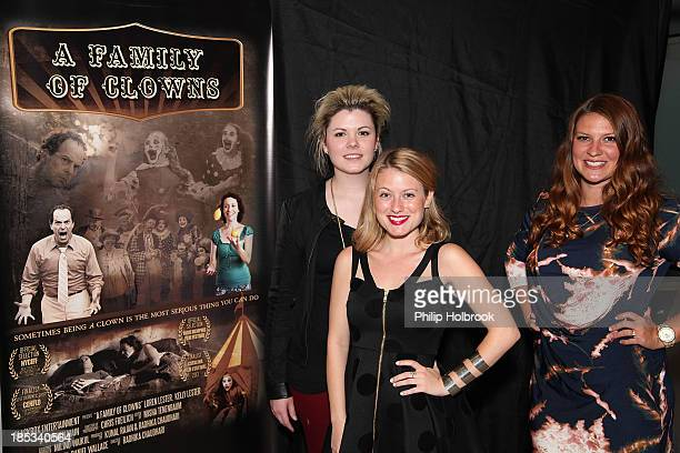 Musician Samantha Davis actress Christie Brook and actress Danielle Lipp arrive at the premiere for A Family of Clowns held at Light Iron on October...