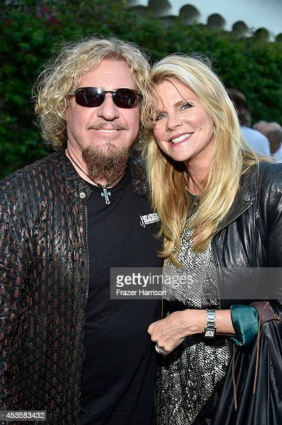 Musician Sammy Hagar and Kari HagarHagar attend the 2014 Classic Rock Awards Launch Party at British Consul Generals Residence on August 13 2014 in...