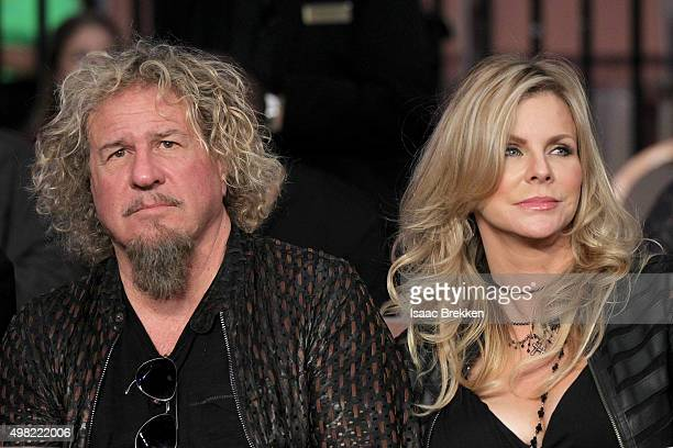 Musician Sammy Hagar and wife Kari Hagar sit ringside at the Mandalay Bay Events Center on November 21 2015 in Las Vegas Nevada