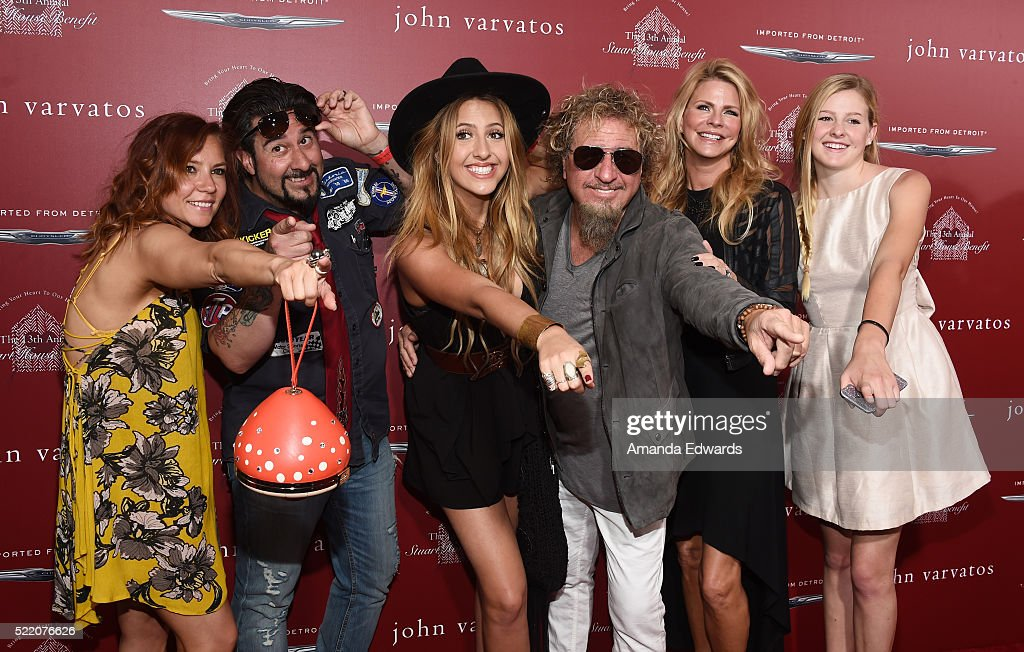Musician Sammy Hagar, his wife Kari Hagar and their family arrive at the John Varvatos 13th Annual Stuart House Benefit presented by Chrysler with kids' tent by Hasbro Studios at John Varvatos on April 17, 2016 in Los Angeles, California.