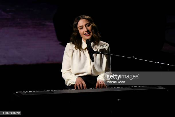 Musician Sara Bareilles performs during an Apple product launch event at the Steve Jobs Theater at Apple Park on March 25 2019 in Cupertino...