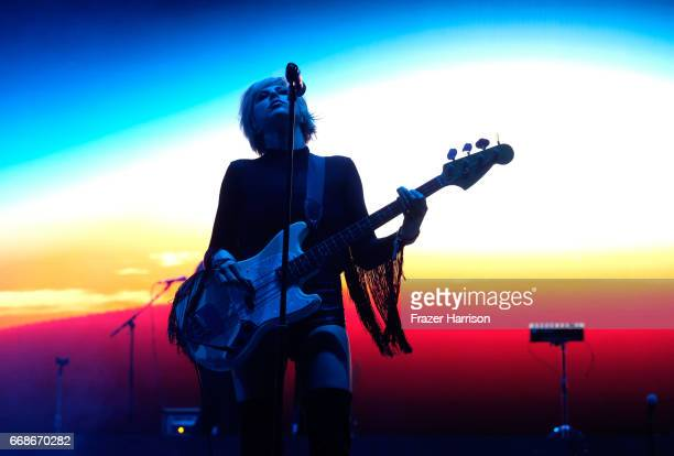 Musician Sarah Barthel of Phantogram performs at the Outdoor Stage during day 1 of the Coachella Valley Music And Arts Festival at the Empire Polo...