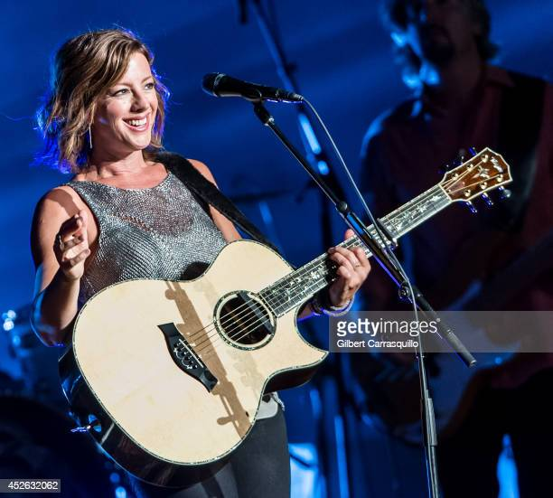 Musician Sarah McLachlan performs during her 2014 Shine On Tour at Mann Center For Performing Arts on July 24 2014 in Philadelphia Pennsylvania