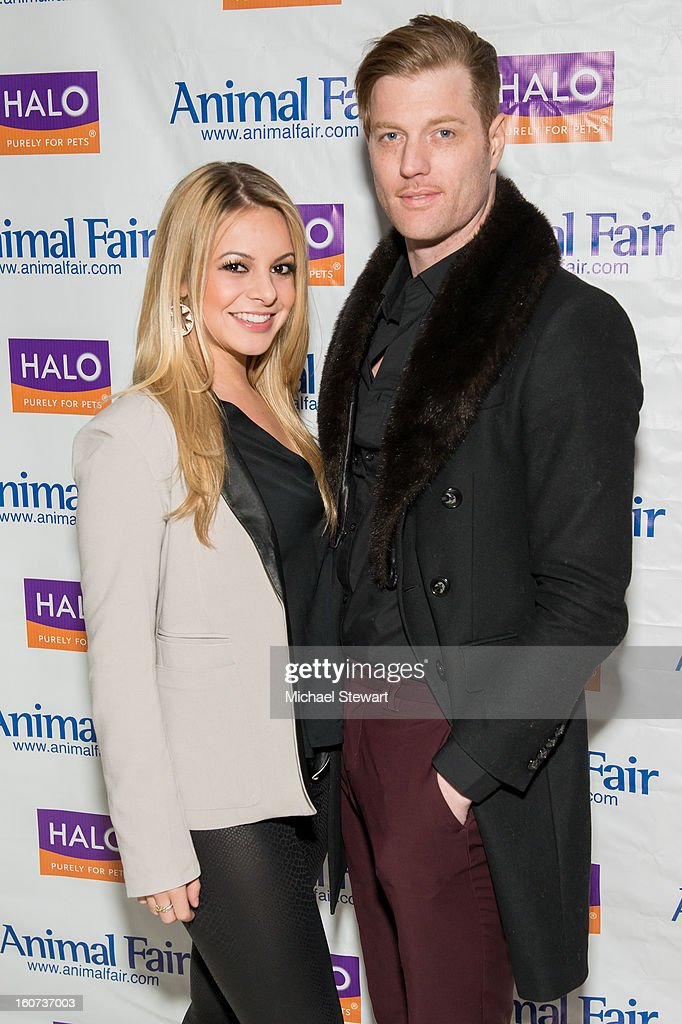 Musician Savannah Schechter (L) and Lifestyle Group CEO Justin Estill attend the TLC's 'Cake Boss' Baby Hope's Most Expensive Pet Wedding in History benefiting the Humane Society episode viewing at Maserati Showroom on February 4, 2013 in New York City.