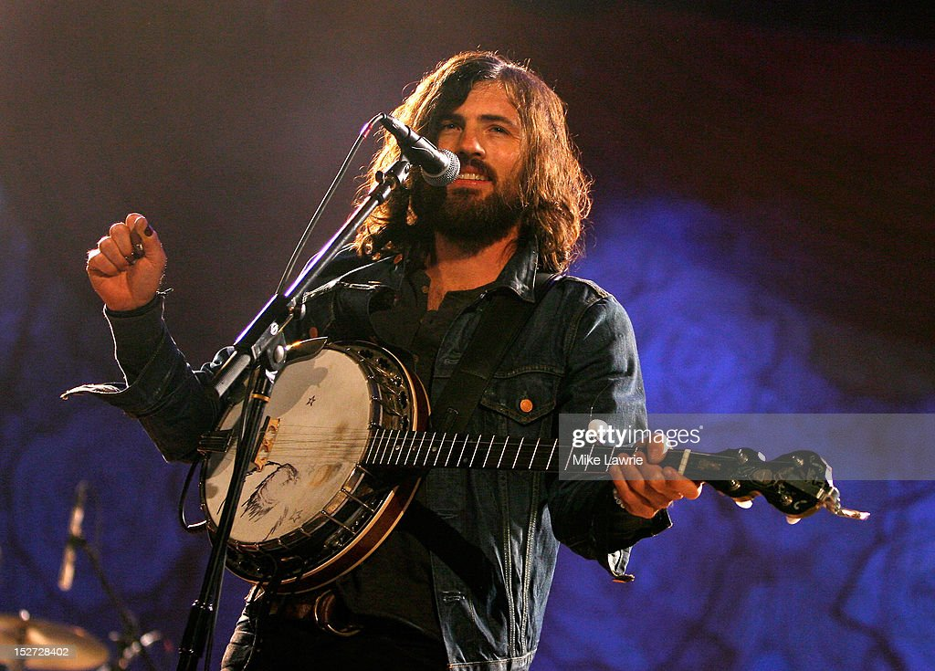 Musician Scott Avett of the Avett Brothers performs at SummerStage at Rumsey Playfield, Central Park on September 24, 2012 in New York City.