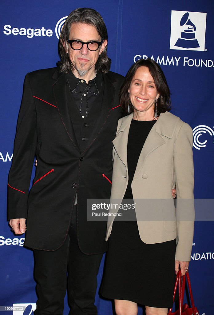 Musician Scott Golman and Rochelle Gross arrive at the Grammy Foundation's 15th Annual Music Preservation Project at Saban Theatre on February 7, 2013 in Beverly Hills, California.