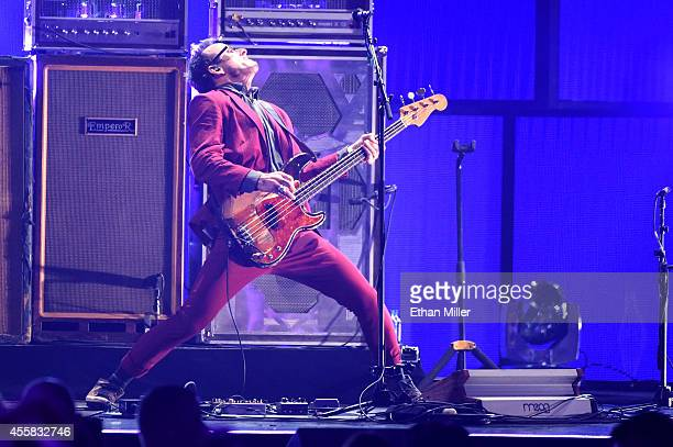 Musician Scott Shriner of Weezer performs onstage during the 2014 iHeartRadio Music Festival at the MGM Grand Garden Arena on September 20 2014 in...