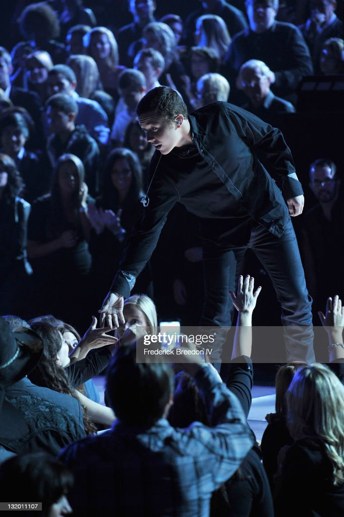 Musician Scotty McCreery performs during the 45th annual CMA Awards at the Bridgestone Arena on November 9, 2011 in Nashville, Tennessee.