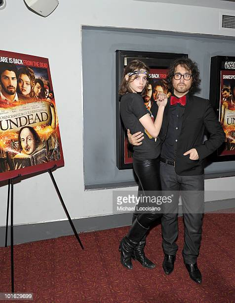 """Musician Sean Lennon and Charlotte Kemp Muhl attend the premiere of """"Rosencrantz and Guildenstern Are Undead"""" at Village East Cinema on June 4, 2010..."""