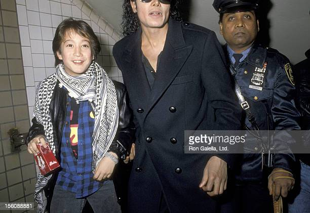 Musician Sean Lennon and Pop Icon Michael Jackson arrive at the Brooklyn Subway on November 28 1986 for the Filming Michael Jackson's Musici Video...