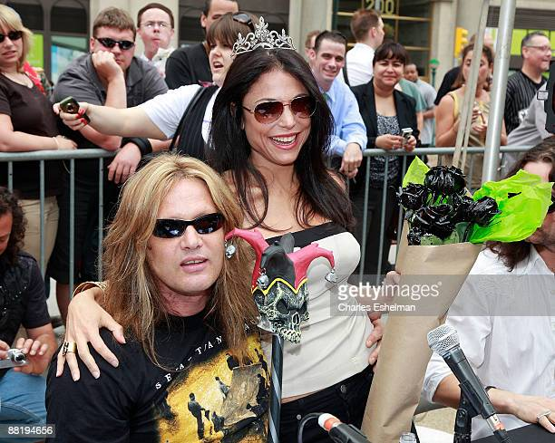 Musician Sebastian Bach and chef and tv personality Bethany Frankel judge America's Hottest Rocker Mom contest in Madison Square Park on June 3 2009...
