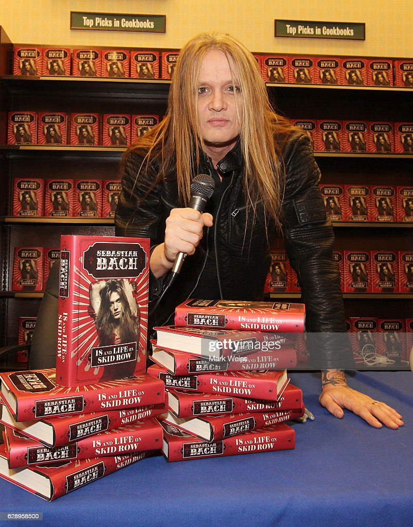"""Sebastian Bach Signs Copies Of """"18 And Life On Skid Row"""" : News Photo"""