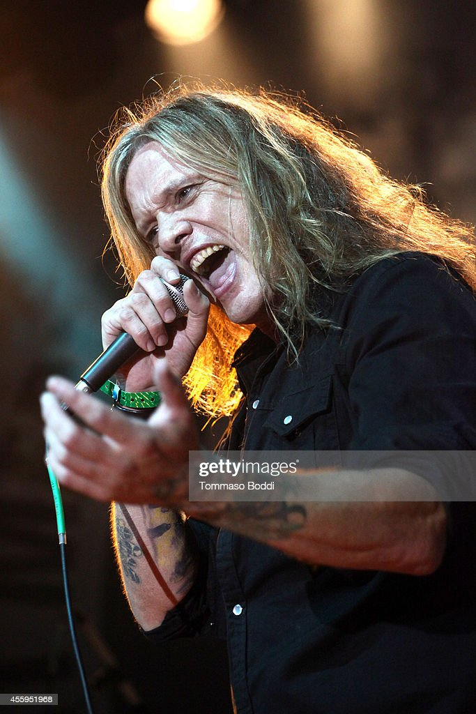 Musician Sebastian Bach performs at the 7th annual Scott Medlock-Robby Krieger Invitational & All-Star Concert benefiting St. Jude held at Moorpark Country Club on September 22, 2014 in Moorpark, California.