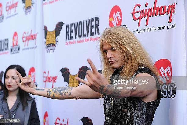 Musician Sebastion Bach arrives at the 3rd Annual Revolver Golden God Awards at the Club Nokia on April 20 2011 in Los Angeles California