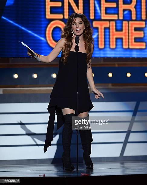 Musician Shania Twain speaks onstage during the 48th Annual Academy of Country Music Awards at the MGM Grand Garden Arena on April 7 2013 in Las...