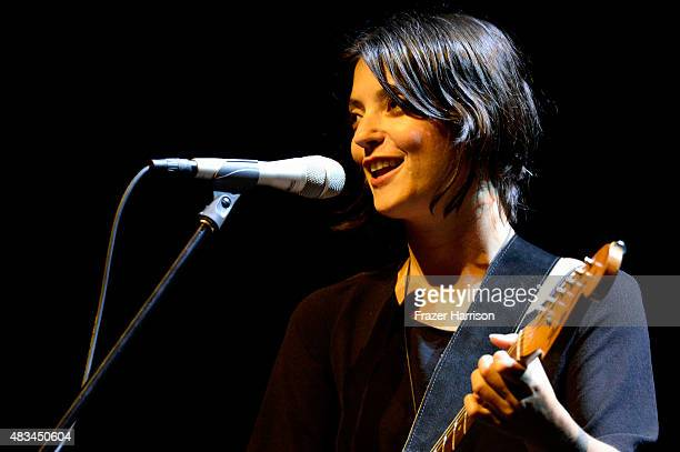 Musician Sharon Van Etten performs onstage following the Entertainment premiere during the Sundance NEXT FEST at The Theatre at Ace Hotel on August 8...
