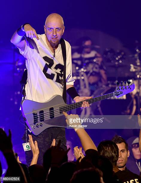Musician Shavo Odadjian of System of a Down performs onstage during day one of the 25th annual KROQ Almost Acoustic Christmas at The Forum on...