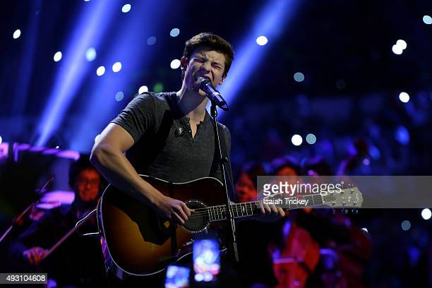 Musician Shawn Mendes performs on stage at WE Day Toronto at the Air Canada Centre on October 1, 2015 in Toronto, Canada.