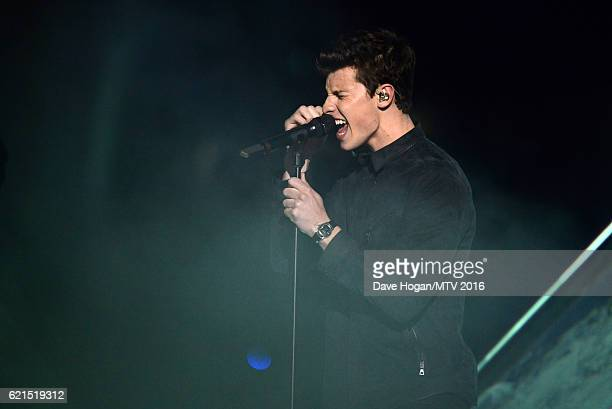 Musician Shawn Mendes performs on stage during the MTV Europe Music Awards 2016 on November 6 2016 in Rotterdam Netherlands