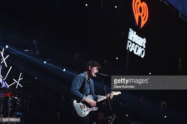 Musician Shawn Mendes performs onstage during KISS 108's Jingle Ball 2016 at TD Garden on December 11 2016 in Boston Massachusetts