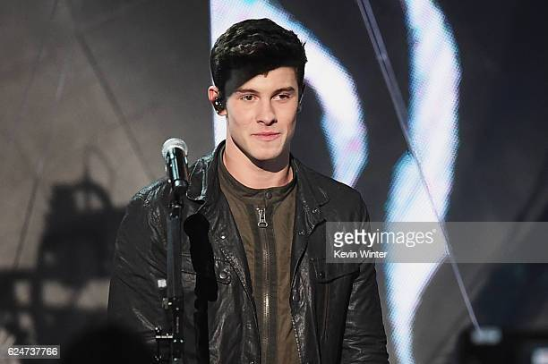 Musician Shawn Mendes performs onstage during the 2016 American Music Awards at Microsoft Theater on November 20 2016 in Los Angeles California