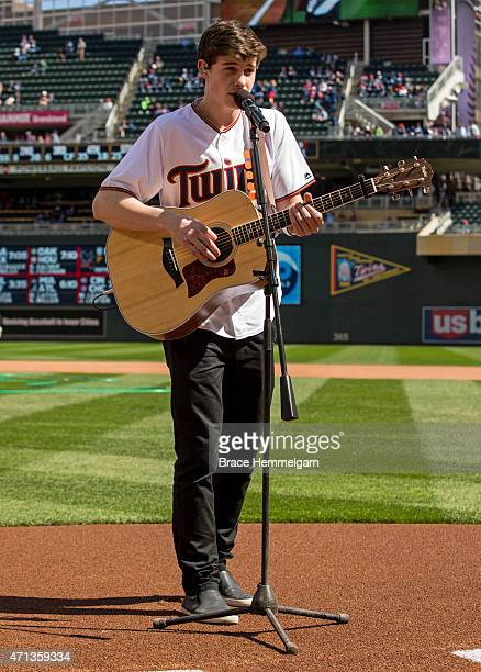 Musician Shawn Mendes performs prior to the game between the Minnesota Twins and the Kansas City Royals on April 13 2015 at Target Field in...