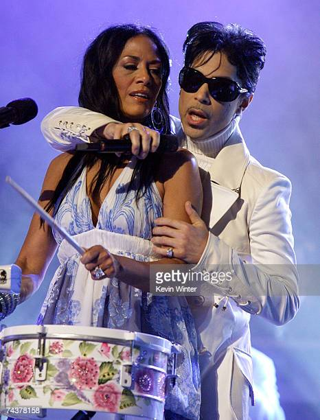 Musician Sheila E and singer Prince perform onstage during the 2007 NCLR ALMA Awards held at the Pasadena Civic Auditorium on June 1 2007 in Pasadena...