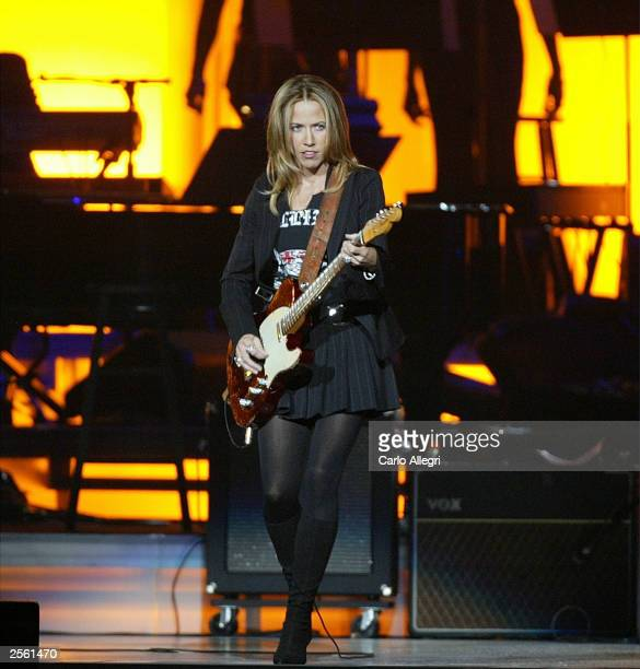 Musician Sheryl Crow performs on stage during the Andre Agassi Foundation's 8th Annual Grand Slam for Children benefit concert at the MGM Grand...